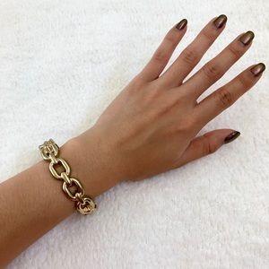 Gold chain cuff bracelet
